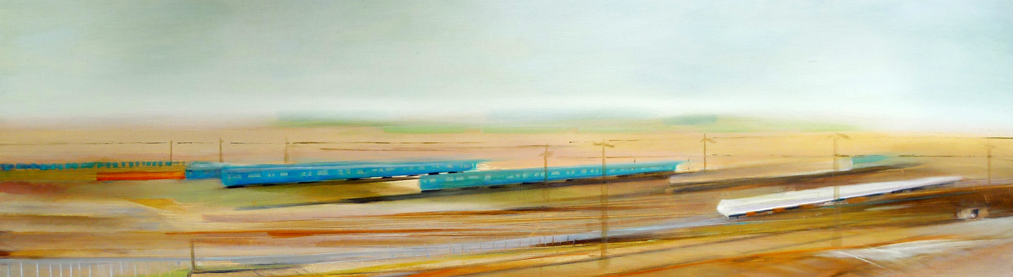 Riikka Ahlfors art painting taide maalaus Trains, 120 cm x 40 cm, oil on wood, 2010
