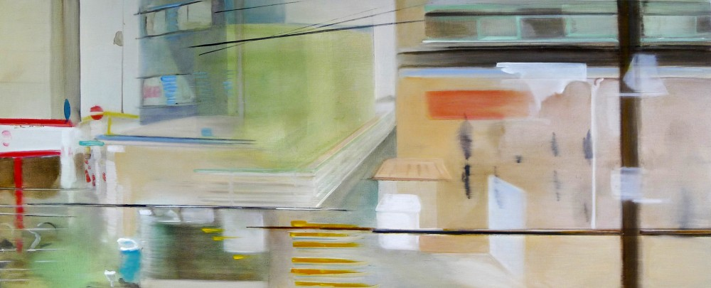 Riikka Ahlfors art painting taide maalaus Buildings, 120 cm x 50 cm, oil on wood, 2010