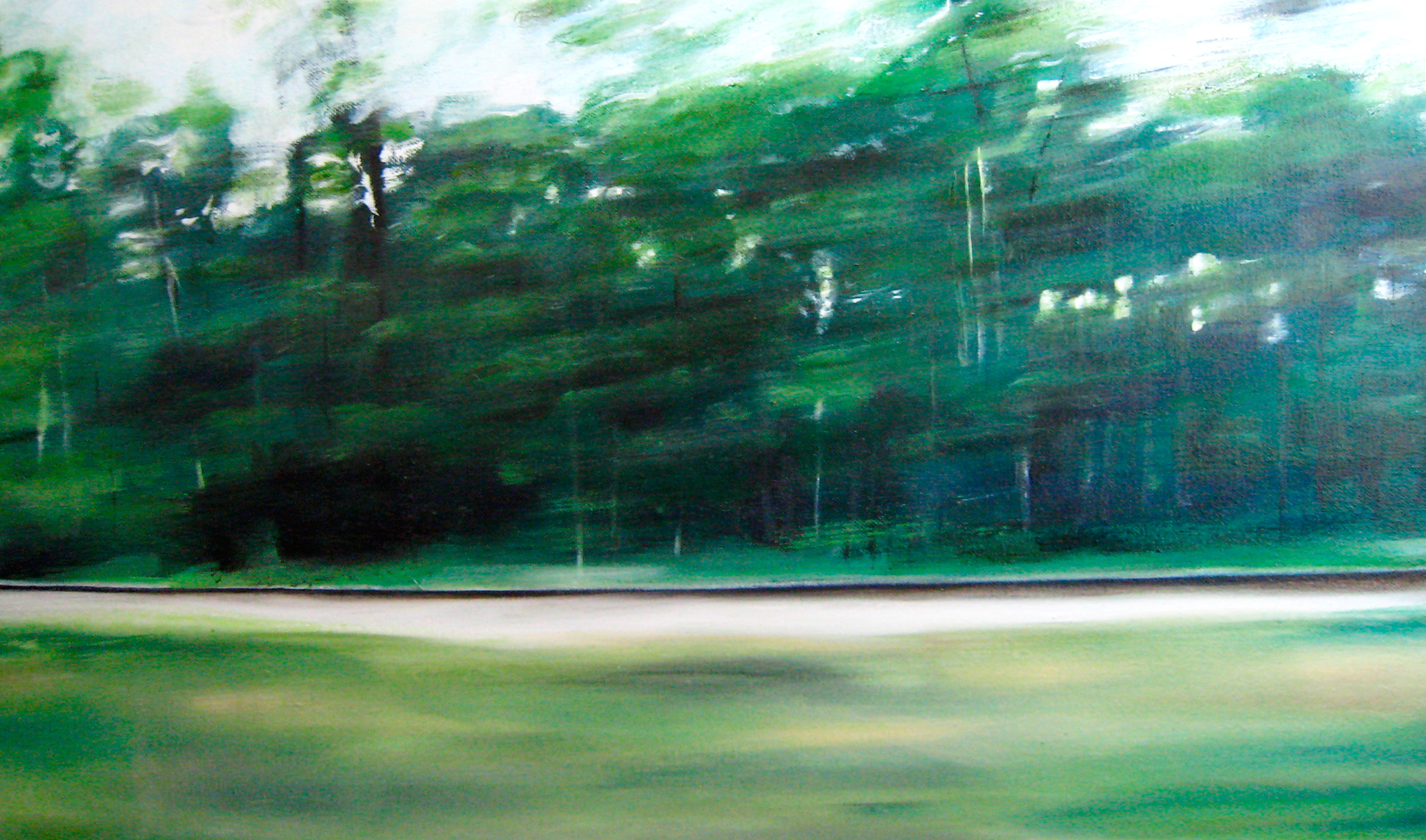 Riikka Ahlfors art painting taide maalaus Track 2, 60 cm x 35 cm, oil on canvas, 2007