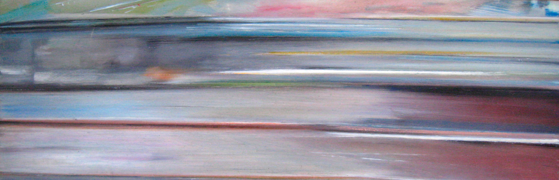 Riikka Ahlfors art painting taide maalaus In shinkansen, 60 cm x 20 cm, oil on wood, 2009