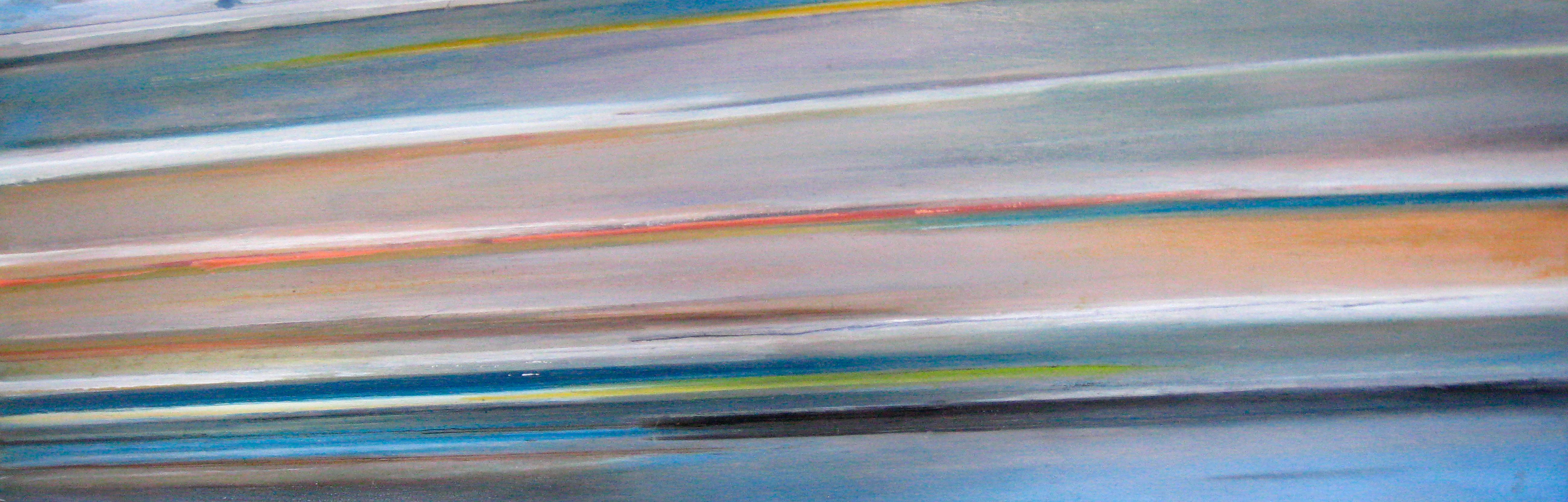 Riikka Ahlfors art painting taide maalaus In shinkansen 2, 60 cm x 20 cm, oil on wood, 2009