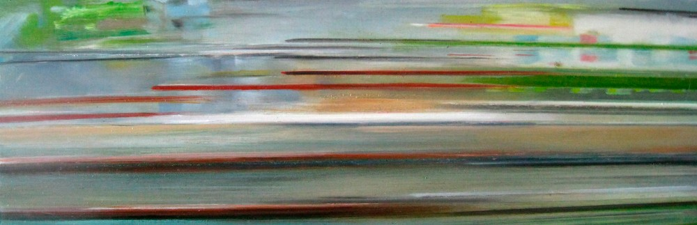 Riikka Ahlfors art painting taide maalaus In shinkansen 3, 60 cm x 20 cm, oil on wood, 2009