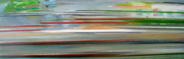 Riikka Ahlfors art painting taide maalaus In shinkansen 3, 60 cm x 20 cm, oil on wood, 2009