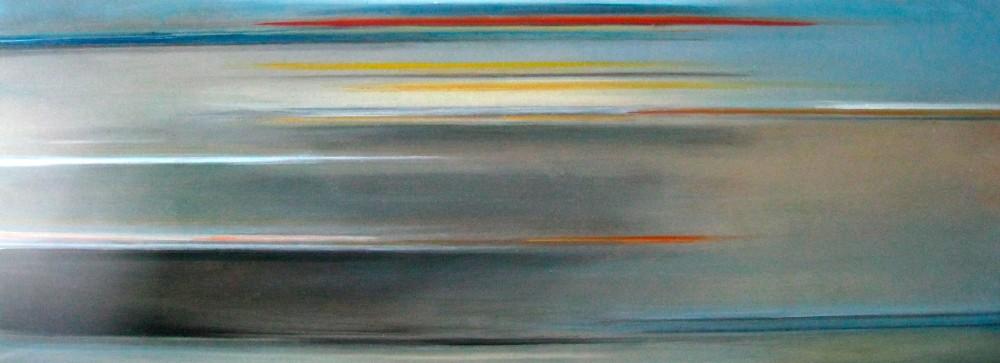 Riikka Ahlfors art painting taide maalaus In shinkansen 4, 80 cm x 30 cm, oil on wood, 2009