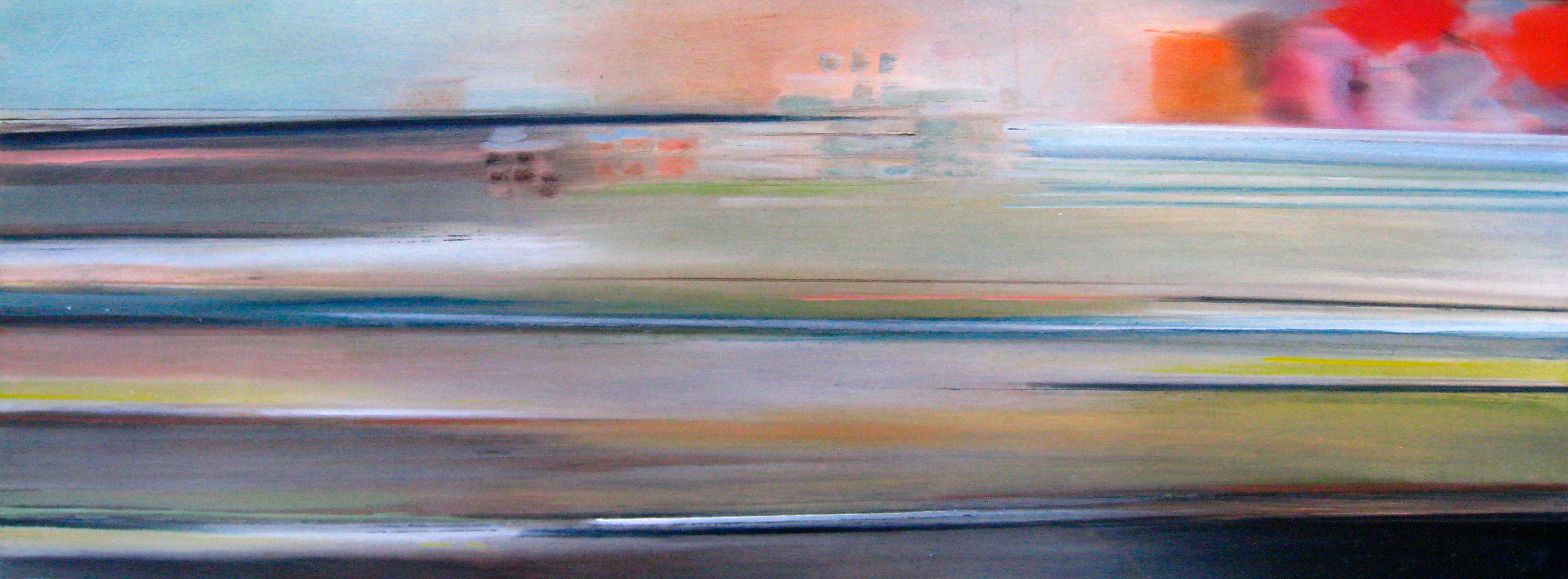 Riikka Ahlfors art painting taide maalaus In shinkansen 5, 80 cm x 30 cm, oil on wood, 2009