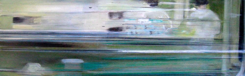 Riikka Ahlfors art painting taide maalaus In shinkansen 6, 60 cm x 20 cm, oil on wood, 2009